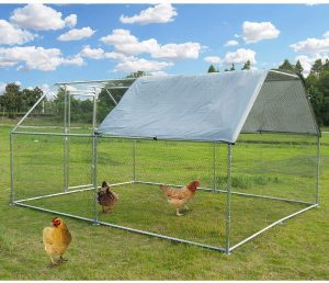 Large Metal Chicken Coop Walk-in Poultry Cage Hen Run